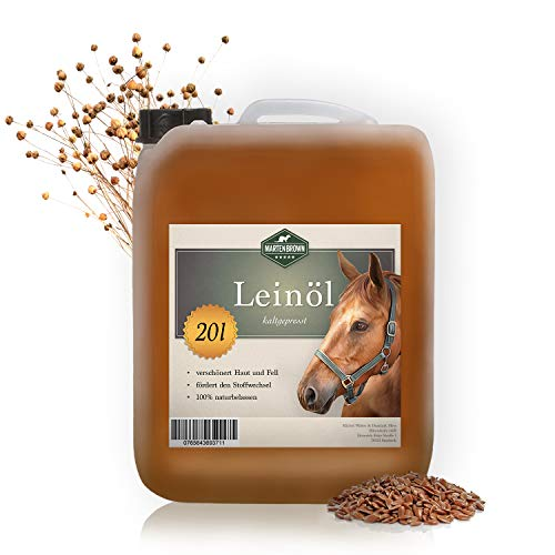 Martenbrown Linseed oil for horses, dogs and other animals, 20 litres in canister, cold pressed, 100% pure