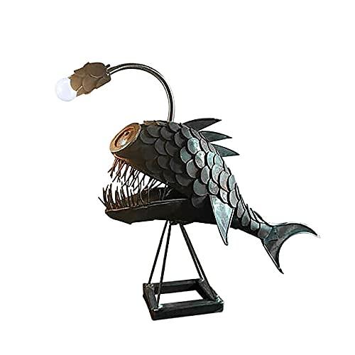 Smile Diary - Lampada da tavolo creativa con squalo, in ferro, lampada da tavolo in metallo, decorazione originale da tavolo, per camera da letto, soggiorno, ufficio, colore: nero