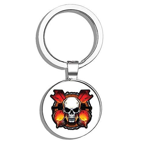 HJ Media Ironworker Skull Metal Round Metal Key Chain Keychain Ring
