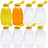 8 Pcs Clear Plastic Honey Jar,16 oz Honey Squeeze Bottle,Honey Container Dispenser with Flip Lid for Storing and Dispensing