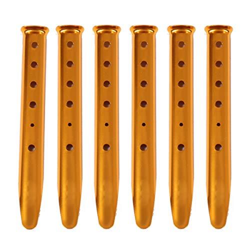 Azarxis Estacas de Tienda de Campaña 6 Pcs Forma de U 31cm Piquetas de Aluminio Clavijas para Carpa Toldo Playa en Arena Nieve (Naranja)