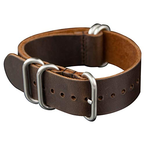 INFANTRY 20mm 22mm Genuine Leather 5 Rings Black Brown Watch Strap Band Stainless Steel Buckle Watchband