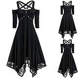 Women Special Halloween Gothic Dress,Plus Size Open Shoulder Mesh Lace Dres-s,Half Sleeve Pure Color Black Party Dress