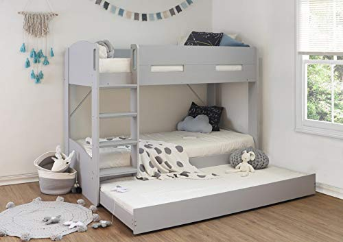 Grey kids bed frame with pullout under guest bed trundle,triple sleeper/underbed drawer.