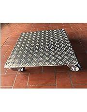Plantenroller vierkant tot 200 kg metalen bloemenroller onderzetter indoor outdoor aluminium (3,5/5 aluminium ribbelplaat, 700x700mm)