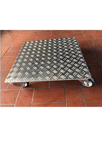 Pflanzenroller Quadrat bis 280kg Metall Blumenroller Untersetzer Indoor Outdoor (2,5/4 Aluminium Riffelblech, 300x300mm)