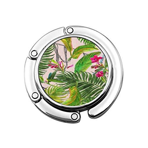 Perchero Colorido H Acuarela Muchas Hojas Pequeñas Flores Rosadas Garabatos Gráficos de Tinta en Verde Brillante Bolso Gancho