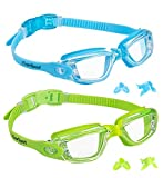 EverSport Kids Swim Goggles 2 Pack, LightBlue & Green, Swimming Goggles for Teenagers, Anti-Fog Anti-UV Youth Swimming Glasses, Leakproof, Free Ear Plugs, one Button Open Straps, for 4-16 Y/O