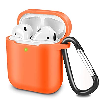 Airpods Case Cover Compatible with AirPods 2 & 1, KOKOKA Silicone Shockproof Airpods Case Cover [Front LED Visible][Support Wireless Charging][Extra Protection] with Hook Orange from Kokoka
