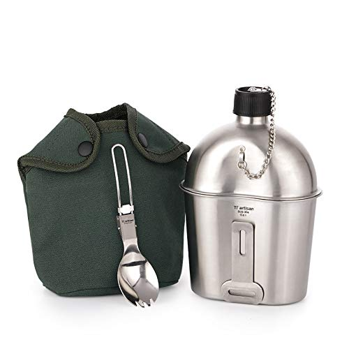 WWVAVA Household us Stainless Steel Army Water Cup Military Canteen Cup Hiking Arm Kettle/Bottle and Spork Set with Green Nylon Cover,Kettle and Spork,1.0L