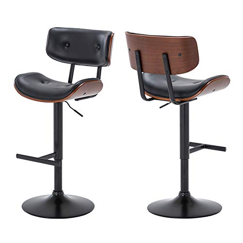 BELLEZE Set of (2) Contemporary Tufted Upholstered Swivel Hydraulic Adjustable Height Walnut Bar Stool, Black