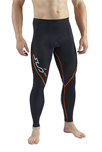 Sub Sports Elite RX Mens Graduated Compression Base Layer Tights/Pants - Black/Orange - US XL (UK XXL)