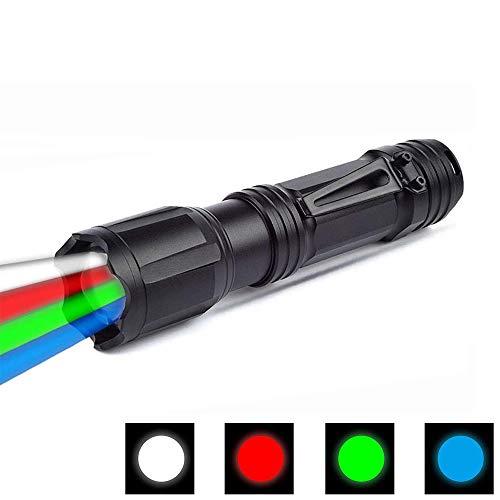 Linterna LED con luz roja, verde, blanca y azul, BESTSUN linternas de 4 colores en 1 linterna de señalización vial para visión nocturna, astronomía, senderismo, pesca, camping