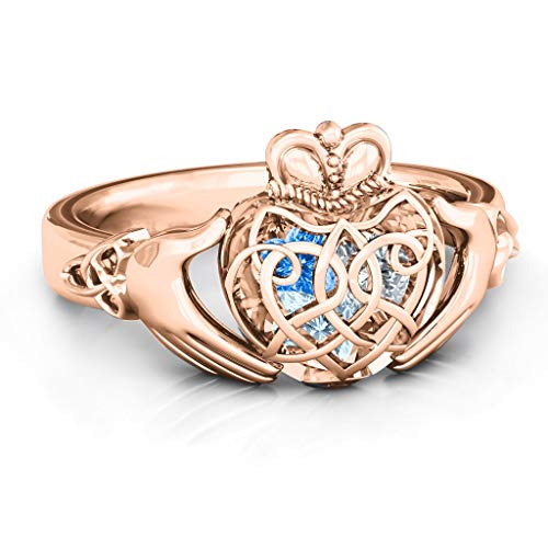 TSD 10K Rose Gold Caged Hearts Celtic Claddagh Ring by JEWLR