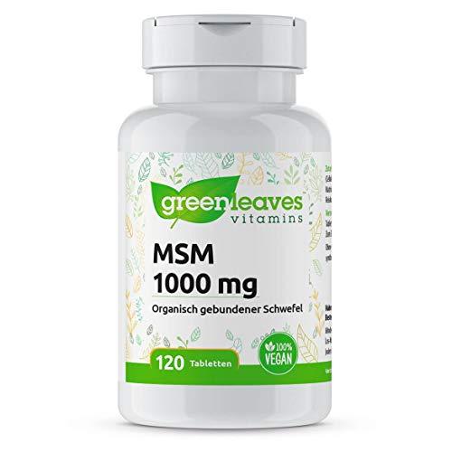 Greenleaves Vitamins - MSM 120 Tabletten 1000 mg OptiMSM Qualität. 100% Vegan. Für gesundes Haar, Nägel und Haut.