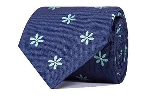 Sologemelos - Cravate Fleurs - Bleu-vert 100% soie naturelle - Hommes - Taille Unique - Confection artesanale Made In Italy