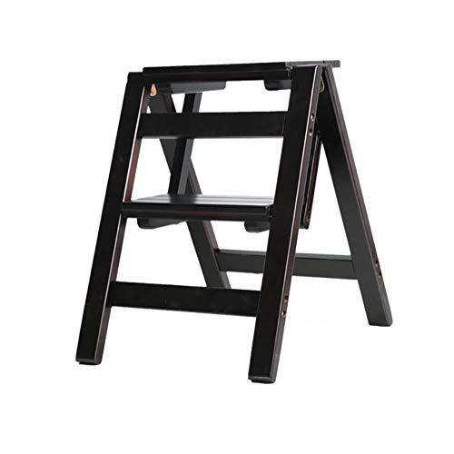 MMWYC Plegable 2 peldaños de la Escalera de Doble Uso del Taburete de Tijera Plegable de Madera de Pino-Escaleras Escalera Flor Banco Zapatero, 38 * 46 * 50cm (Color : D)