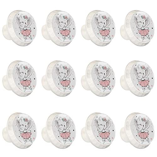 Z&Q Pomos y Tiradores Infantiles Falda de Ballet bebé Elefante 12 Piezas Pomos Cristal de plástico Blanco Tiradores de Muebles para Habitación Infantil 3.5x2.8CM
