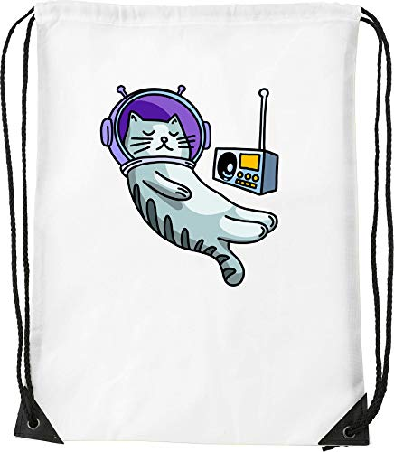 Chill Radio Astronaut Cat Bolsa con cordón Saco Senderismo Gimnasio