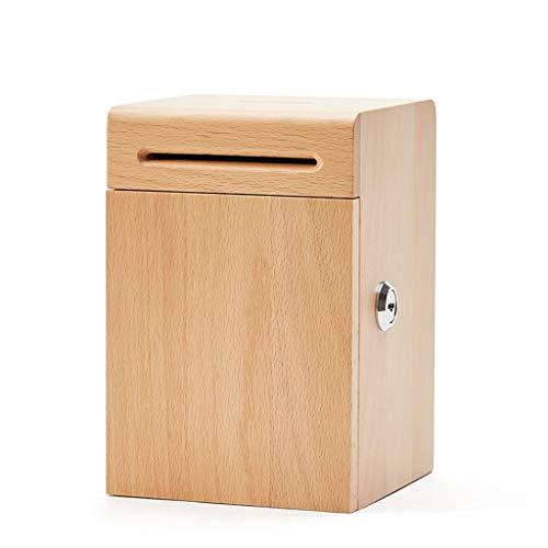 LICHUAN Hucha de madera, caja fuerte para monedas, hecho a mano, con cerradura de llave, para ahorros de dinero para adultos y niños (color natural)
