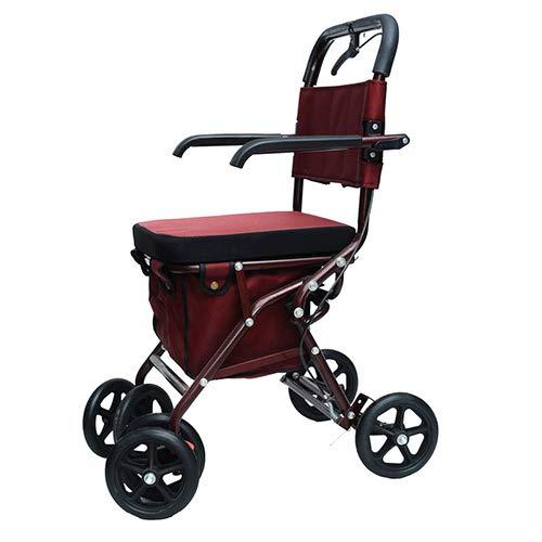 Rollator Walker mit Seat, Comfort Handles und Thick Backrest, Falten Walker, Elderly Hand Push Scooter Shopping Cart,#1