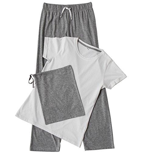 Towel City - Pijama - para Mujer Blanco/Gris L