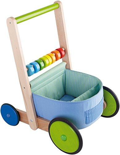 HABA 6432 - Lauflernwagen Farbenspaß, Lauflernhilfe aus Holz und Textil mit bunten Spielelementen, Transportfach für Spielsachen, Bremse und Gummirädern, ab 10 Monaten