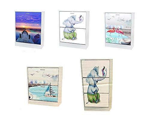 LBA Mueble Zapatero con 2/3 Puertas abatibles, 60 x 24 x 80/120 cm, Color Blanco con impresión en Puertas. (Embarcadero, 63x24x80 cms.)
