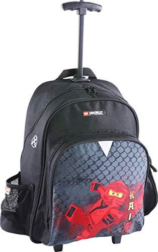 LEGO Bags 2 in 1 Trolley Rucksack Schulranzen NINJAGO Dragon, Leichter Kinderrucksack, Kindertrolley mit Lego Motiv, Ranzen Schwarz, mit großem Hauptfach, Vortasche und Mesh Seitentasche, 2 Rollen