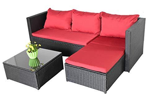Garten Lounge Gartensofa Selbstaufbau Bergen III schwarz - rot Gartenmöbel Lounge Gartenausstattung für Garten, Balkon, Terrasse, Wintergarten