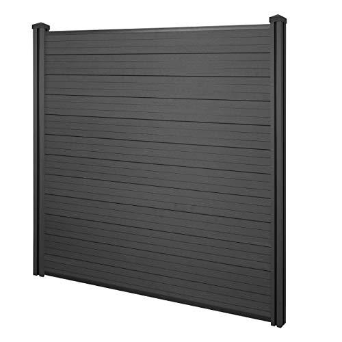 Mendler WPC-Sichtschutz Sarthe, Windschutz Zaun, WPC-Pfosten ~ Basiselement, 1,95m anthrazit