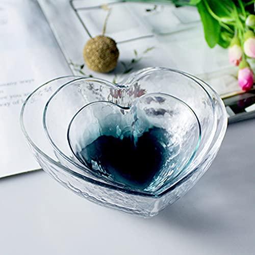 NBJT Juego de 3 cuencos de vidrio para ensalada de postre para servir pasta, juego de cuencos para cocina, cuencos en forma de corazón