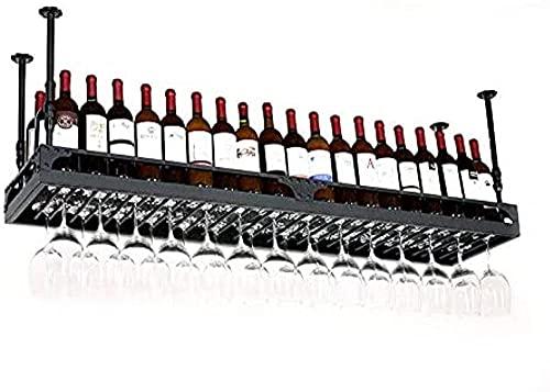 Techo Bastidores de vino Black Metal Stemware Racks Racks de vino de uva Botella de vino Titular de la botella de vino Champán de vino Rack de vidrio Muebles de barra Muebles de comedor-120 × 35 cm