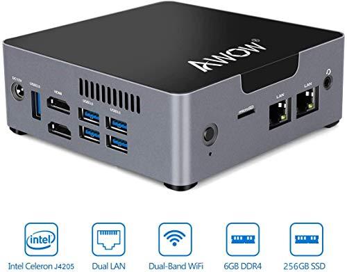 AWOW Mini PC AK34 Windows 10 6GB DDR4 256GB SSD Desktop Computer, Intel Pentium J4205 4K HD/Dual LAN/2.4G+5G WiFi/BT 4.2/HDMI