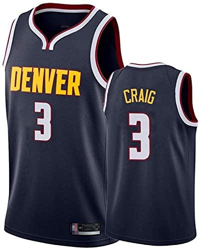 FEZBD Denver Nuggets # 3 Craig Baloncesto Jersey, Camiseta De Malla Bordada Unisex, Tela Transpirable Jersey Chaleco,Negro,XXL185~190cm