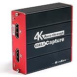 Mirabox320 Capture Card 4K, USB 3.0 Game Video HDMI Capture Card, 4K Pas-Through, grabación 1080p y transmisión en Directo para PS4 PS5 Camera en OBS, Twitch, Youtube, Windows Mac