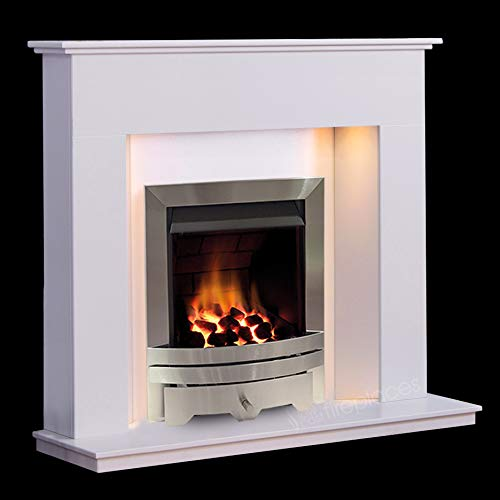 White Modern Marble Stone Fire Surround Wall Gas Fireplace Suite Silver Inset Gas Fire with Spotlights