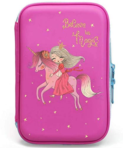 Unicorn Pencil Case For Girls |Cute Preschool, Kindergarten, and Elementary Pen Holder With Compartments |Toddler Pink School Zipper Pouch (Pink Princess)