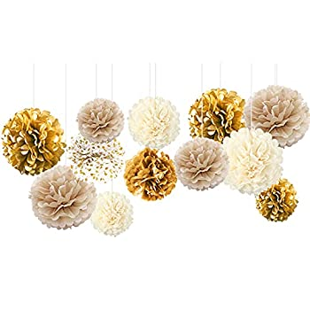 NICROHOME White Gold Party Decorations -12 PCS White Gold Champagne Tissue Paper Pom Poms for Birthday Graduation Décor Baby Shower Bridal Shower Prom Festival Decorations and Party Backdrop Decor