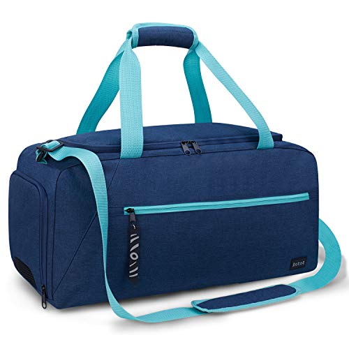Rotot Gym Sport Gym Bag, Duffle Bag with Waterproof Shoe Pouch, Weekend Travel Duffel Bag with a Water-resistant Insulated Wet Pocket Cooler (33L) (Navy & Teal)