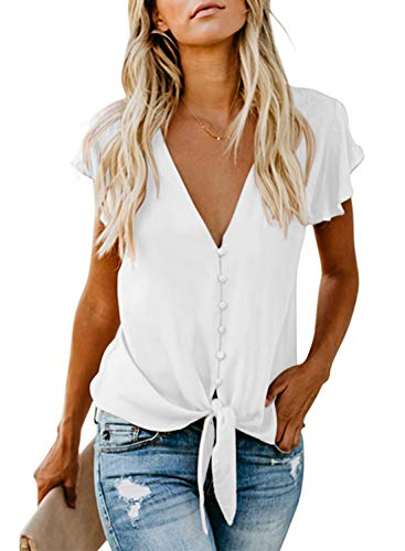 FIYOTE Damen Hemd Lose Langarmshirt Knopf Top Tunika Oberteile Hemd, 1-weiß, M