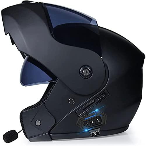 LIOYUHGTFY Casco Integral Casco De Motocicleta Casco de Plegable y Modular con Bluetooth Integrado con Casco de protección Modular S-XL para Cuatro Estaciones para s con aprobación Dot/ECE 702(Co