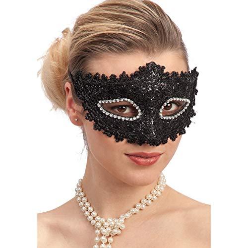 Palucart 1 Máscara de Encaje Negro y Rhinestone Sexy Máscara de Mujer Disfraz Baile Carnaval Sexy