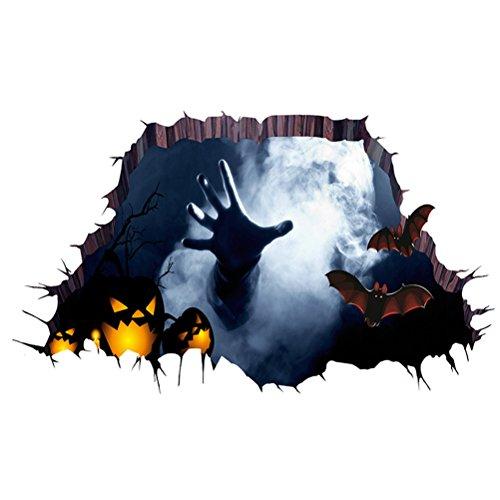 LUOEM 3D Halloween Boden Aufkleber Halloween Horror Wand Dekor Schlafzimmer Wohnzimmer Haushalt Zimmer Spukhaus Dekor Wandsticker Ghost Hand durch den Boden Wandbild Dekor