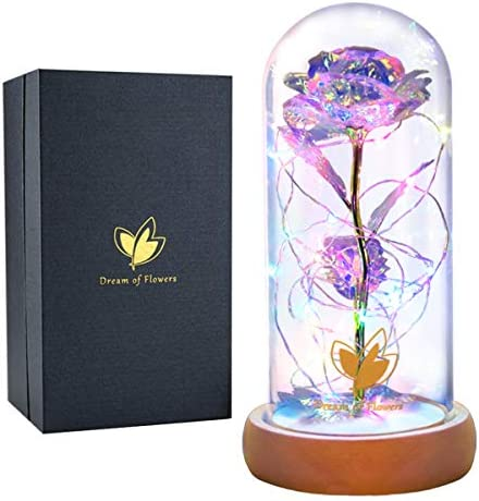 Galaxy Rose Colorful Rose Artificial Flower Beauty and The Beast Rose Colorful Led Lights in product image