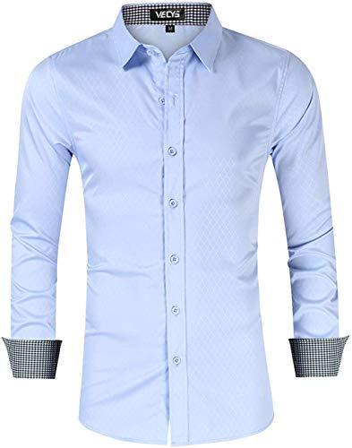 Vecys Chemise Homme Manche Longue Slim Fit Chemise pour Homme sans Repassage Infroissable Casual Cintrée Fibre de Bambou Business Chemises (Bleu Clair, L)