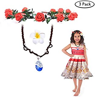 Buufan Girl Sapphire Necklace for Princess Moana Cosplay with Floral Wreath Headband & Flower Hair Clip,Moana Movie Costume Accessories,Blue Pendant Necklace for Girl Children Birthday Party Dress Up