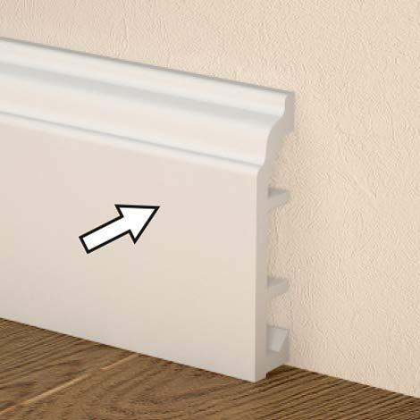 Rodapiés de PVC – Pasacables – Medidas 80 x 18 x 2520 mm – Color blanco – Resistente y se puede pintar – Precio por unidad