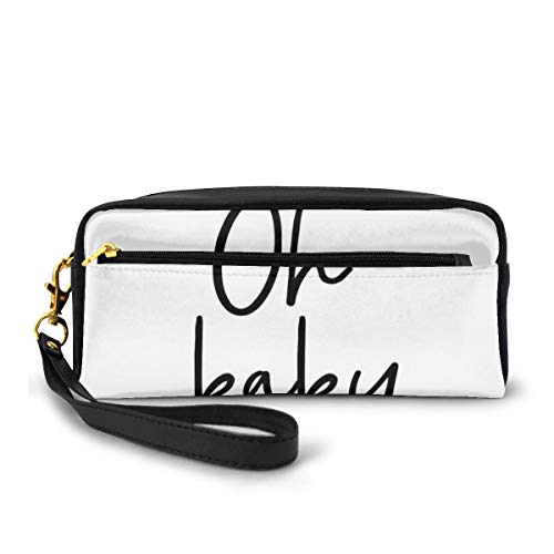 Pencil Case Pen Bag Pouch Stationary,Modern Brush Effect Calligraphy Artistic Lettering of Oh Baby Saying Print,Small Makeup Bag Coin Purse