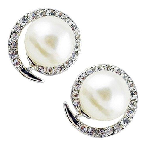 GWG Jewellery Pendientes Mujer Regalo Pendientes, Chapados en Metal Precioso Perla Engalanada con Espiral de Cristales Transparentes a Fiesta para Mujeres